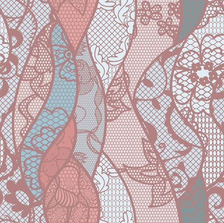 Lace seamless pattern with flowers on pastel background Vector