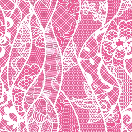 Lace seamless pattern with flowers on pink background