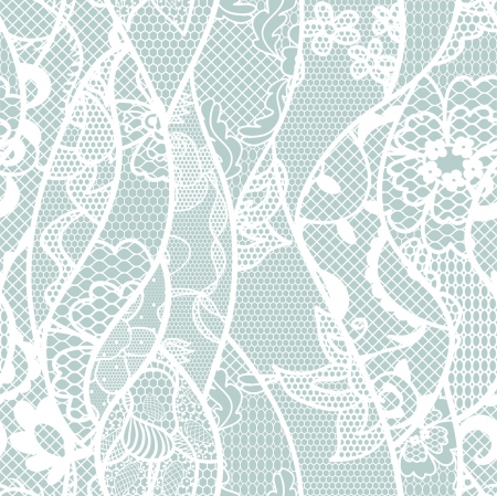 Lace seamless pattern with flowers on blue background Vector