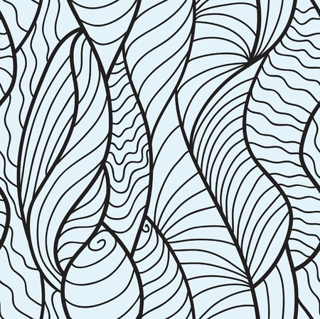 twirls: Hand drawn seamless pattern with various elements, lines, waves