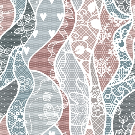 Lace seamless pattern with flowers on pastel background Illustration