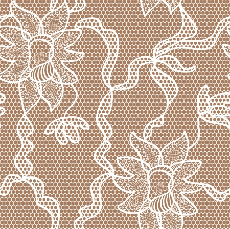 Beige lace fabric seamless  pattern with orchids Vector