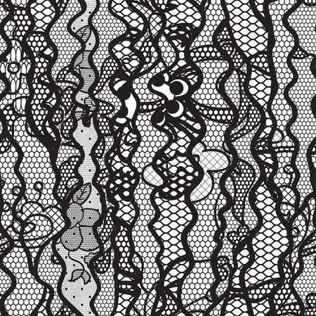 vector fabric: Black lace vector fabric seamless pattern with lines and waves Illustration