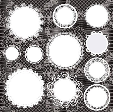 doilies: Vector ilustraci�n. Antecedentes para �lbum de recortes.