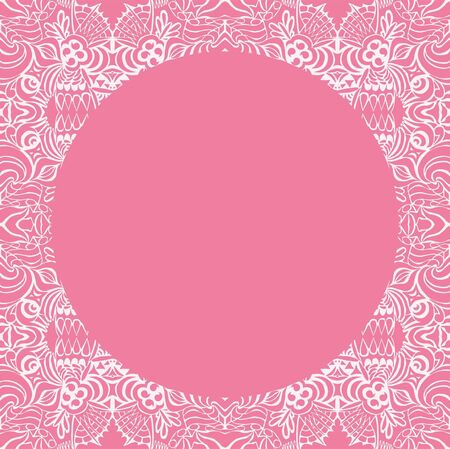 Circle on seamless pattern. Template with copy space. Vector