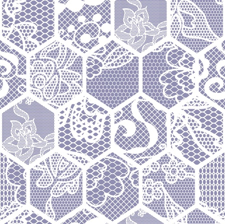 handwork: White lace vector fabric seamless pattern. Honeycomb mesh.