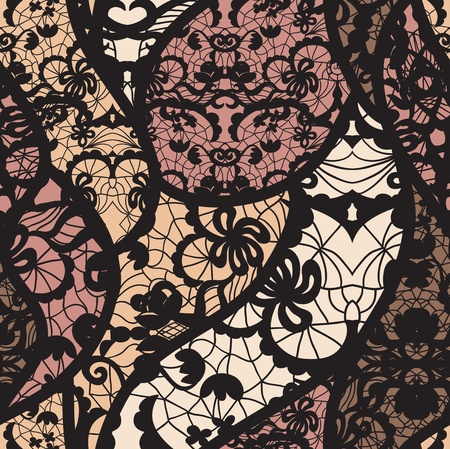 Black lace vector fabric seamless pattern photo
