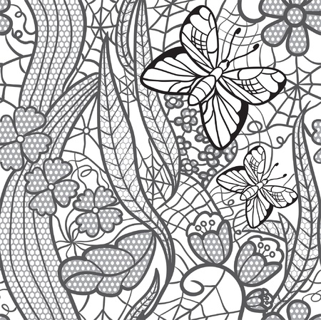 lacy: Seamless lacy pattern with flowers and butterflies.