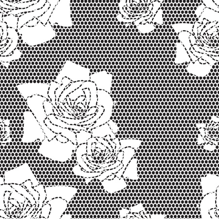 vector fabric: Black lace vector fabric seamless  pattern with roses