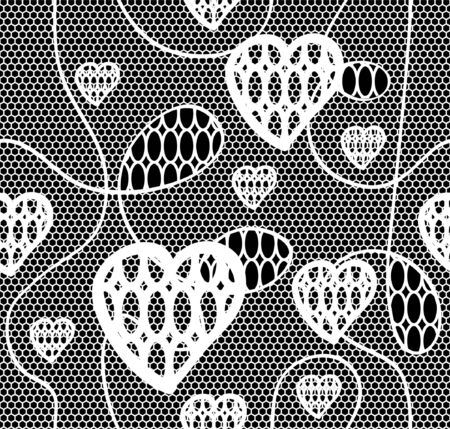 vector fabric: Black lace vector fabric seamless  pattern with hearts