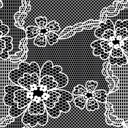 vector fabric: Black lace vector fabric seamless  pattern with FLOWERS Illustration