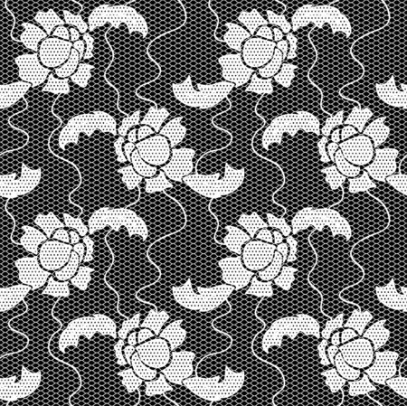 lace vector: Black lace vector fabric seamless  pattern with flowers