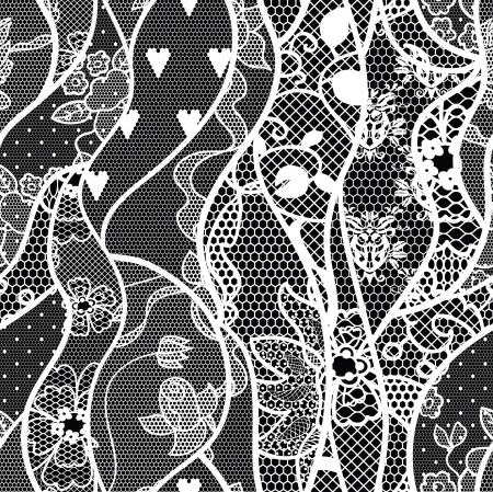 royal black wallpaper: Lace vector fabric seamless  pattern with roses Illustration