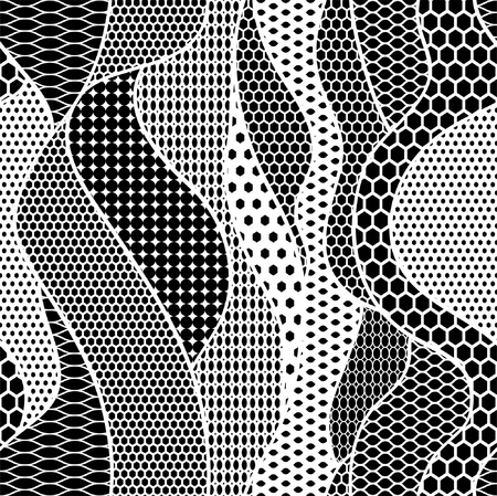 vector fabric: Lace vector fabric seamless pattern with lines and waves