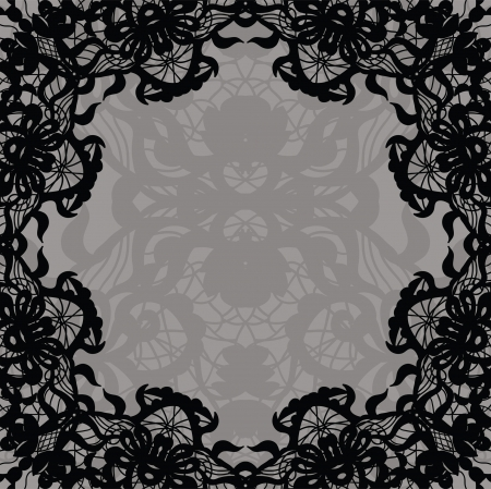 Vector black lace on texture, template. Vector