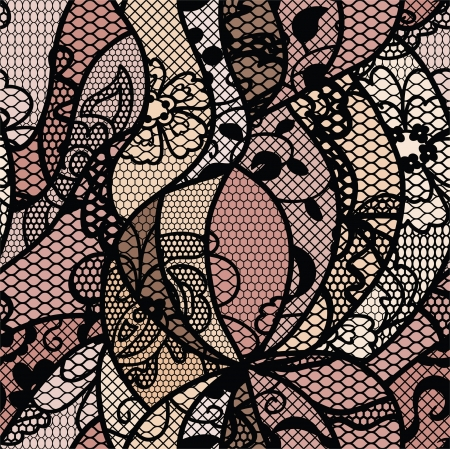 Black lace vector materiaal naadloze patroon met lijnen en bloemen Vector Illustratie
