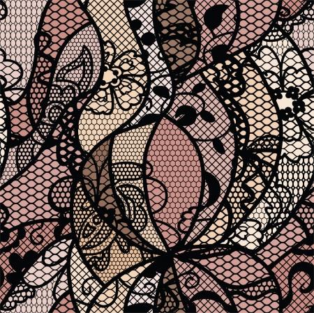Vector de encaje negro tela inconsútil del modelo con las líneas y las flores Ilustración de vector