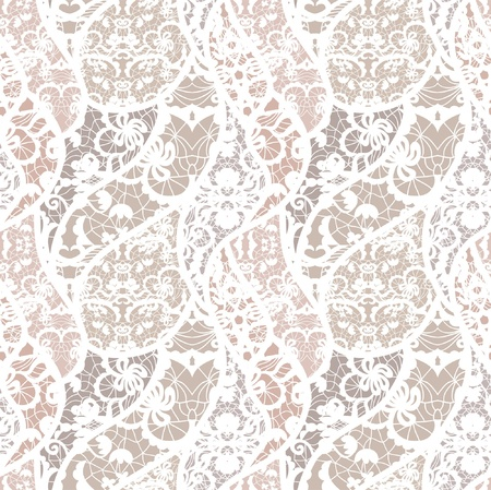 pastel flowers: Lace vector fabric seamless pattern with lines and flowers
