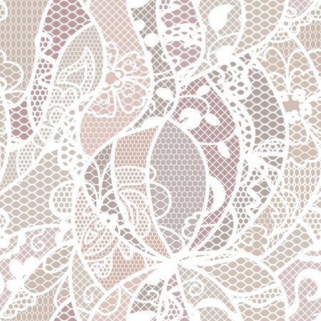 Lace vector fabric seamless pattern with lines and flowers