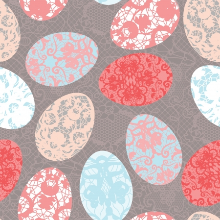 Seamless easter pattern with lacy colorful eggs Vector