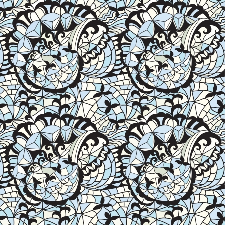 Mosaic seamless  pattern with flowers Stock Vector - 18865460