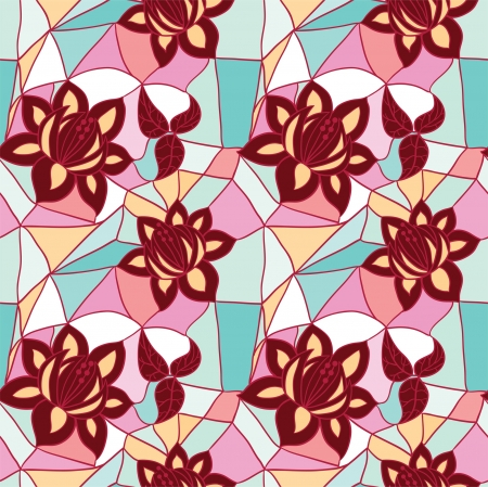 Mosaic seamless  pattern with flowers Stock Vector - 18865432