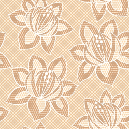 Lace seamless pattern with flowers on mesh background Illustration