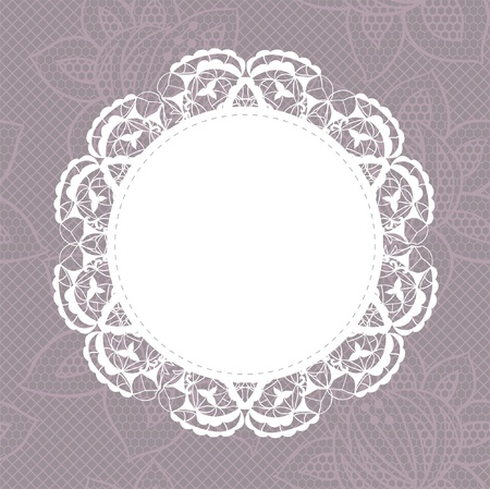 crochet: Elegant doily on lace gentle background for scrapbooks Illustration