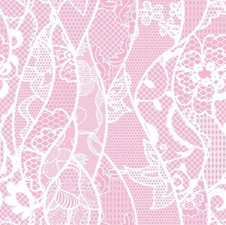 trabajo manual: Encaje sin patrón con flores sobre fondo rosa Vectores
