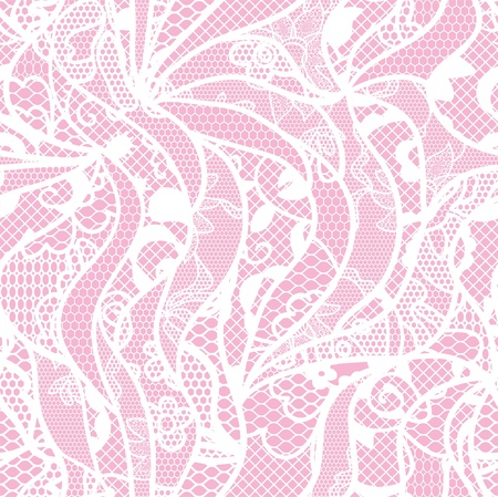 handwork: Lace seamless pattern with flowers on pink background