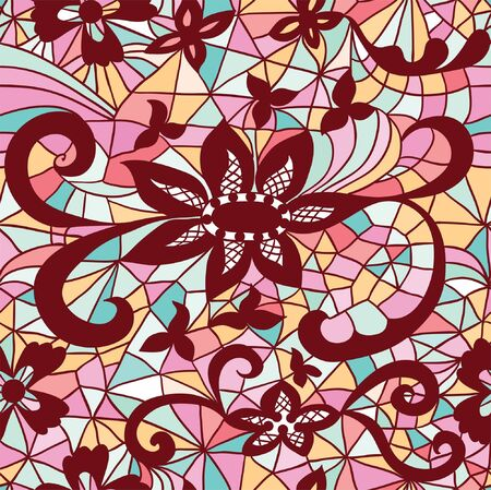 Mosaic seamless  pattern with flowers Vector