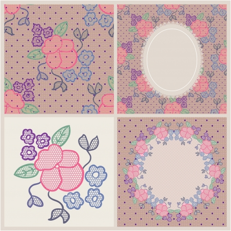 Lace patterns with flowers on mesh background Vector