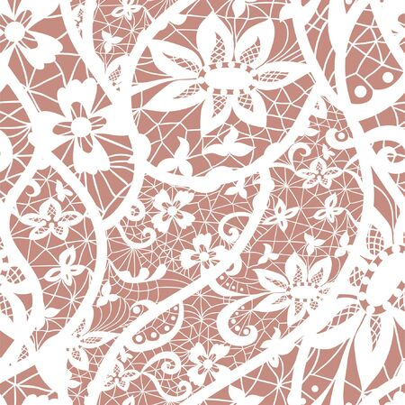 Lace seamless pattern with flowers on beige background Vector