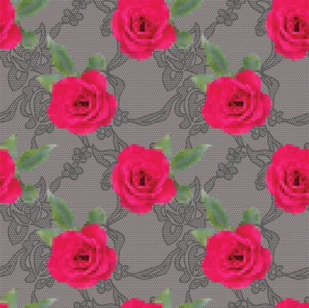 rose: Embroidered roses and gentle lace pattern