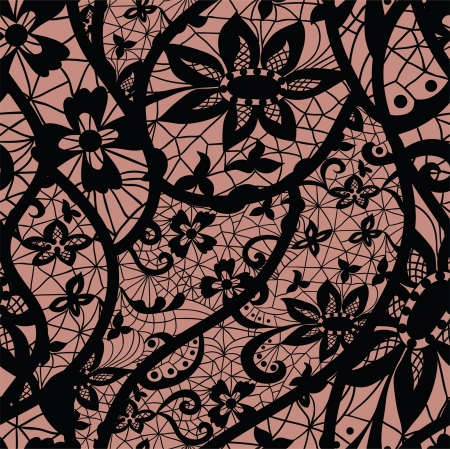 black lace: Lace seamless pattern with flowers on beige background