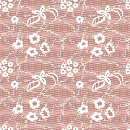 Lace seamless pattern with flowers on beige background Stock Vector - 19116694