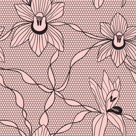 Black lace vector fabric seamless  pattern with orchids Illustration