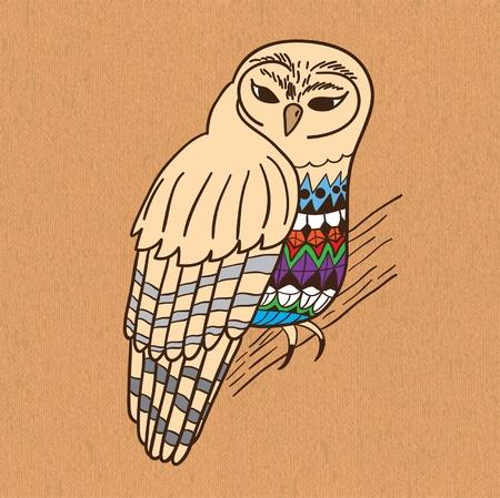 Hand drawn owl on canvas.  illustration. Vector