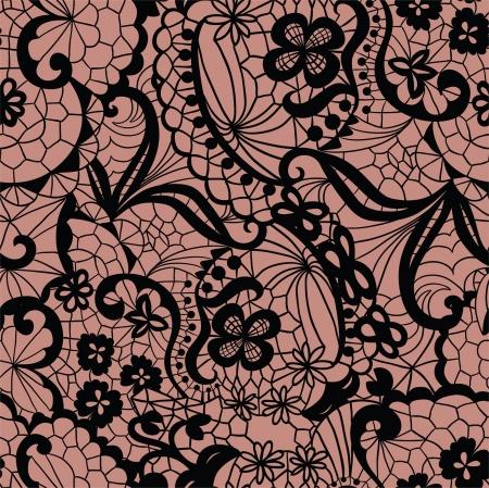 Kant naadloze patroon met bloemen op beige achtergrond Vector Illustratie