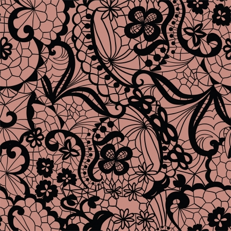 victorian lady: Lace seamless pattern with flowers on beige background