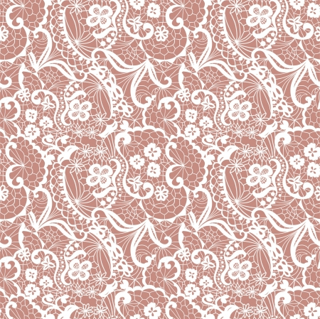 victorian fashion: Lace seamless pattern with flowers on beige background