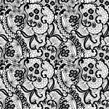 floral lace: Lace black seamless pattern with flowers on white background
