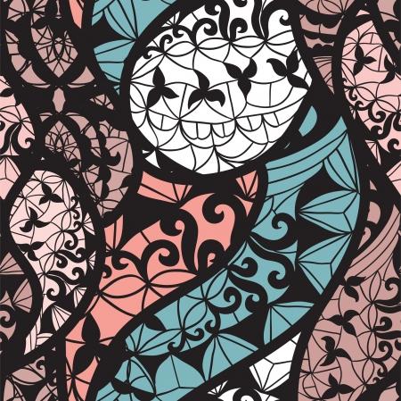 arabesco: Mosaico vector sin patr�n con hojas