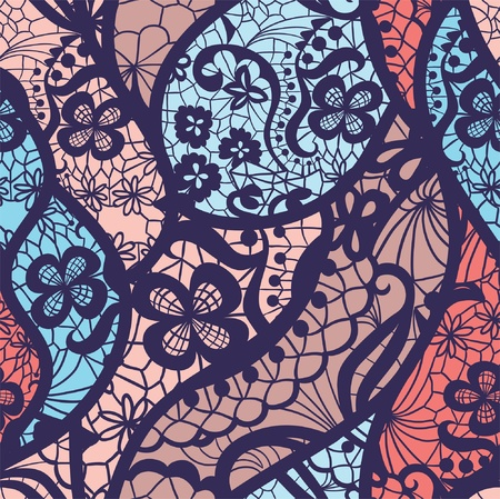 vector fabric: Lace vector fabric seamless pattern with lines and flowers