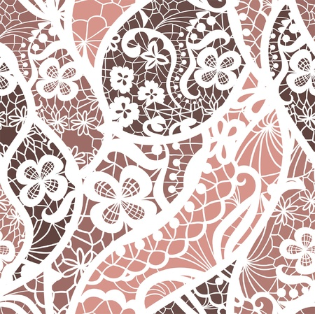 leaf curl: Lace vector fabric seamless pattern with lines and flowers