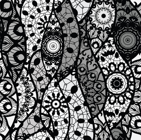 Seamless pattern with lines, waves and croped mesh circles Vector