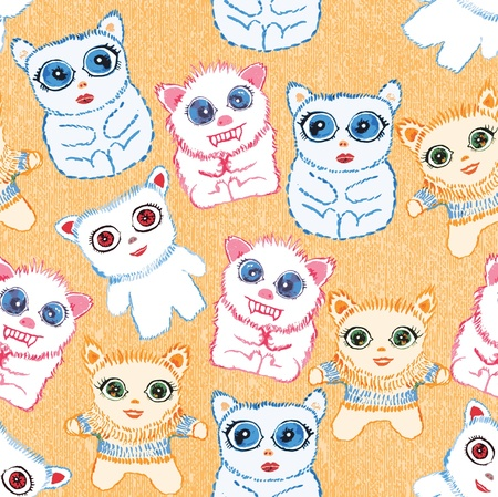 Little cute monsters  Seamless vector background  Vector