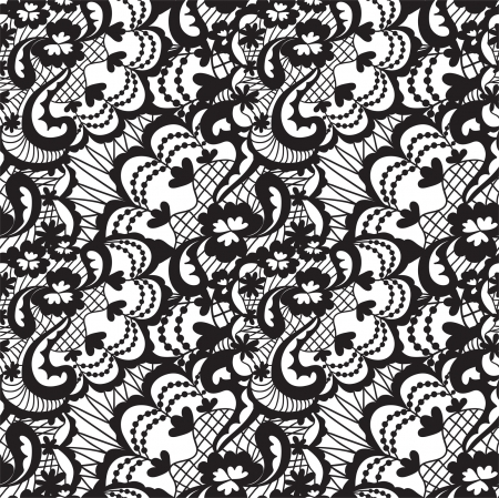 victorian woman: Lace black seamless pattern with flowers on white background