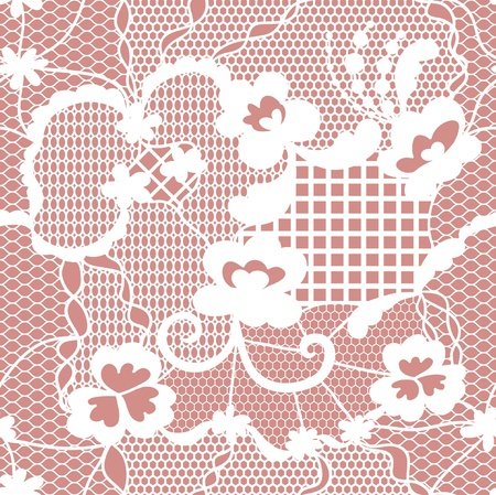 Lace white seamless pattern with flowers on pink background Vector