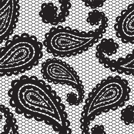 Lace black seamless pattern with paisley on white background Vector